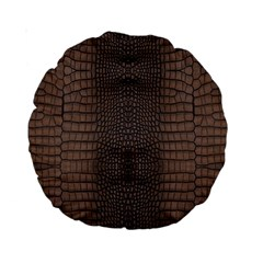 Brown Alligator Leather Skin Standard 15  Premium Round Cushions by LoolyElzayat