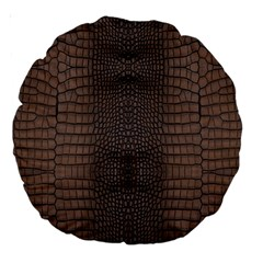 Brown Alligator Leather Skin Large 18  Premium Round Cushions by LoolyElzayat