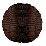 Brown Alligator Leather Skin Large 18  Premium Round Cushions Front