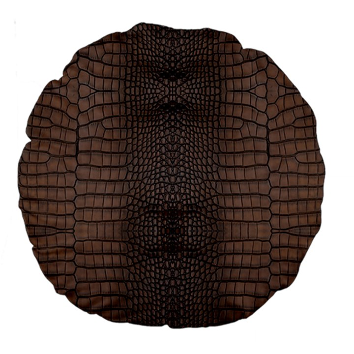 Brown Alligator Leather Skin Large 18  Premium Round Cushions