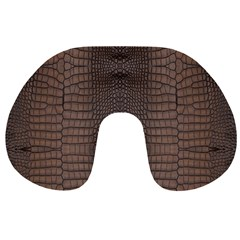 Brown Alligator Leather Skin Travel Neck Pillow by LoolyElzayat