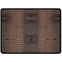 Brown Alligator Leather Skin Double Sided Fleece Blanket (large)  by LoolyElzayat