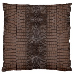 Brown Alligator Leather Skin Large Flano Cushion Case (one Side) by LoolyElzayat