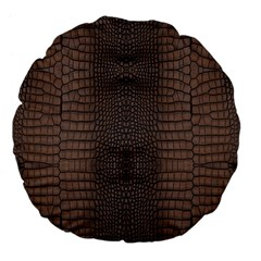 Brown Alligator Leather Skin Large 18  Premium Flano Round Cushions by LoolyElzayat