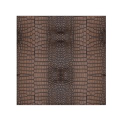 Brown Alligator Leather Skin Small Satin Scarf (square)