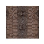 Brown Alligator Leather Skin Small Satin Scarf (Square) Front