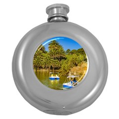 Parque Rodo Park, Montevideo, Uruguay Round Hip Flask (5 Oz) by dflcprintsclothing