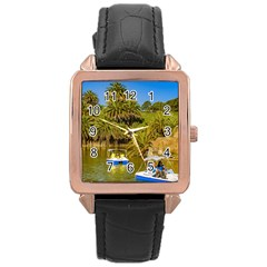 Parque Rodo Park, Montevideo, Uruguay Rose Gold Leather Watch  by dflcprintsclothing