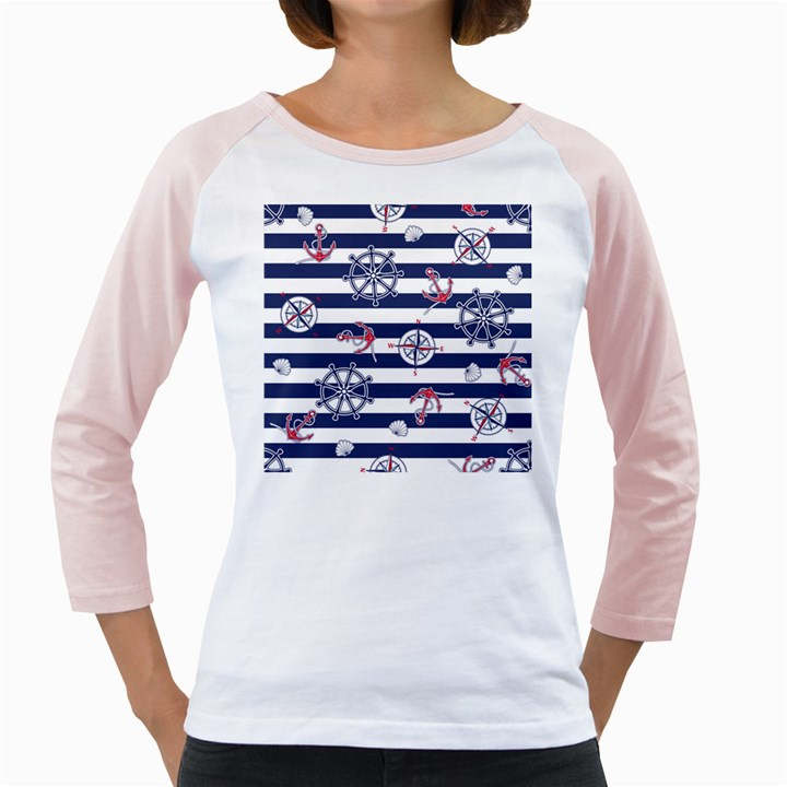 Seamless-marine-pattern Girly Raglan