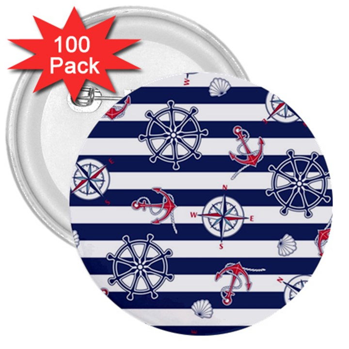 Seamless-marine-pattern 3  Buttons (100 pack)