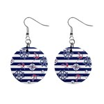 Seamless-marine-pattern Mini Button Earrings Front