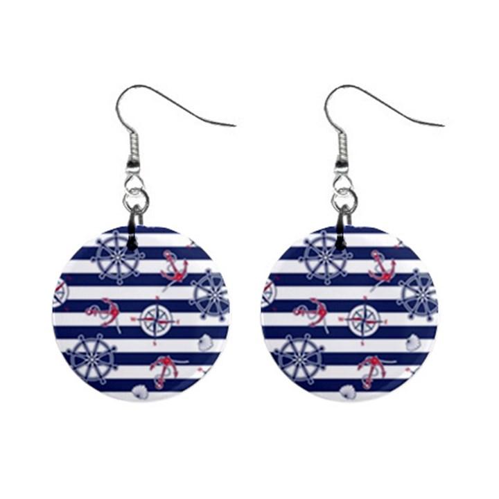 Seamless-marine-pattern Mini Button Earrings