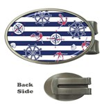 Seamless-marine-pattern Money Clips (Oval)  Front