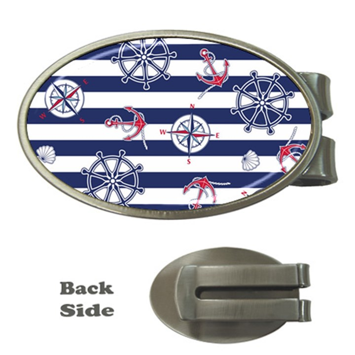 Seamless-marine-pattern Money Clips (Oval)