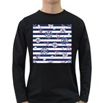 Seamless-marine-pattern Long Sleeve Dark T-Shirt Front