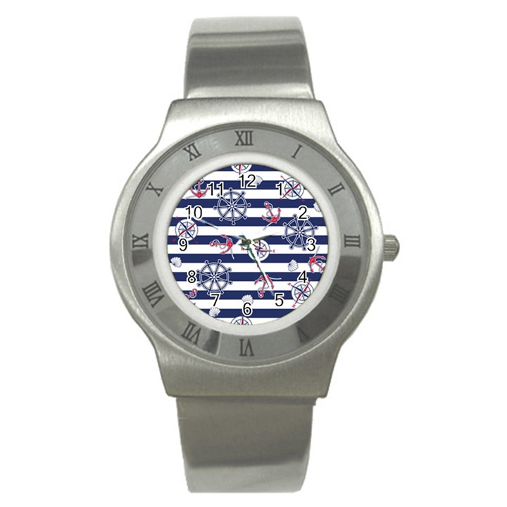 Seamless-marine-pattern Stainless Steel Watch