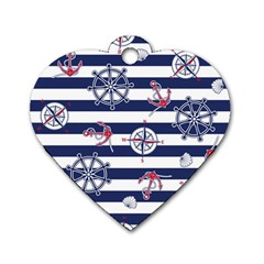 Seamless-marine-pattern Dog Tag Heart (one Side)