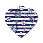 Seamless-marine-pattern Dog Tag Heart (One Side) Front