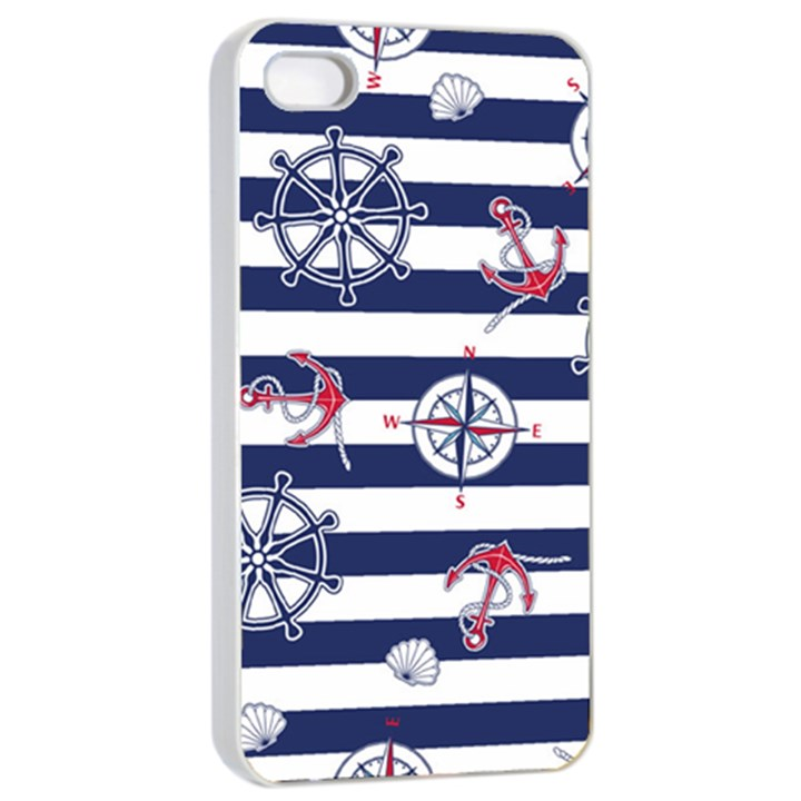 Seamless-marine-pattern iPhone 4/4s Seamless Case (White)