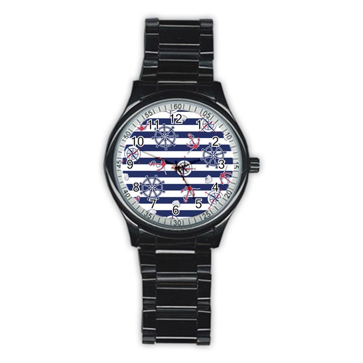 Seamless-marine-pattern Stainless Steel Round Watch