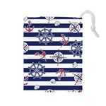 Seamless-marine-pattern Drawstring Pouch (Large) Front