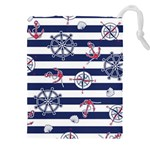 Seamless-marine-pattern Drawstring Pouch (4XL) Front
