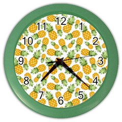 Pineapples Color Wall Clock by goljakoff
