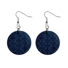 Blue Sashiko Pattern Mini Button Earrings by goljakoff