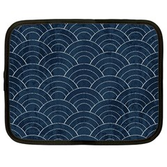 Blue Sashiko Pattern Netbook Case (large) by goljakoff