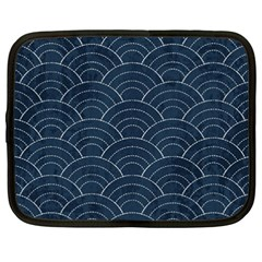 Blue Sashiko Pattern Netbook Case (xxl) by goljakoff