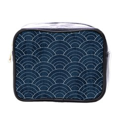 Blue Sashiko Pattern Mini Toiletries Bag (one Side) by goljakoff