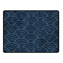 Blue Sashiko Pattern Double Sided Fleece Blanket (small)  by goljakoff