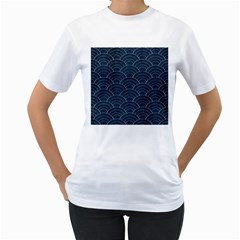 Blue Sashiko Pattern Women s T-shirt (white)  by goljakoff