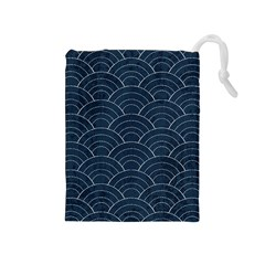 Blue Sashiko Pattern Drawstring Pouch (medium) by goljakoff