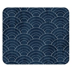 Blue Sashiko Pattern Double Sided Flano Blanket (small)  by goljakoff