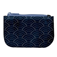 Blue Sashiko Pattern Large Coin Purse by goljakoff
