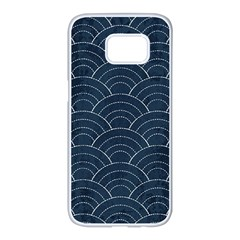 Blue Sashiko Pattern Samsung Galaxy S7 Edge White Seamless Case by goljakoff