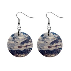 Andes Mountains Aerial View, Chile Mini Button Earrings