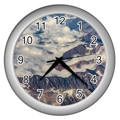 Andes Mountains Aerial View, Chile Wall Clock (silver)