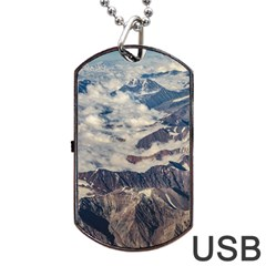 Andes Mountains Aerial View, Chile Dog Tag Usb Flash (two Sides)