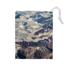 Andes Mountains Aerial View, Chile Drawstring Pouch (large)