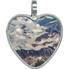 Andes Mountains Aerial View, Chile Heart Necklace