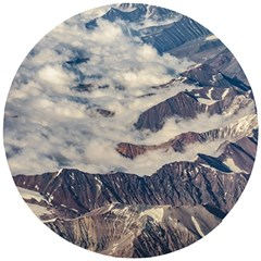 Andes Mountains Aerial View, Chile Wooden Puzzle Round