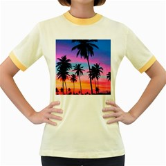 Sunset Palms Women s Fitted Ringer T-shirt by goljakoff