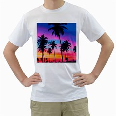 Sunset Palms Men s T-shirt (white) (two Sided) by goljakoff