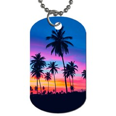 Sunset Palms Dog Tag (two Sides) by goljakoff
