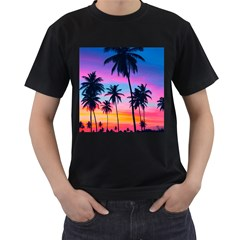 Sunset Palms Men s T-shirt (black) (two Sided) by goljakoff