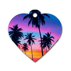 Sunset Palms Dog Tag Heart (two Sides) by goljakoff