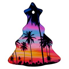 Sunset Palms Christmas Tree Ornament (two Sides) by goljakoff