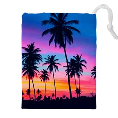 Sunset Palms Drawstring Pouch (3xl) by goljakoff